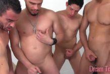 Shemale Beatriz Velmont lets 4 guys fuck her bareback