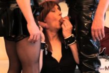 Horny Tgirl Luci May in latex spanking and blowjob threesome