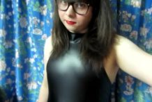 Trans Girl in Latex Bodysuit