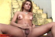 Brazillian chick with dick hardcore masturbates till cumshot
