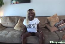 Ebony casting trans jerking her cock solo