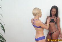 Ebony tgirl assfucking tranny ass in twosome