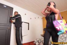 Latina tgirl amateur asspounded while tugging