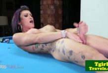 Busty trans trap tugs hard cock on pool table